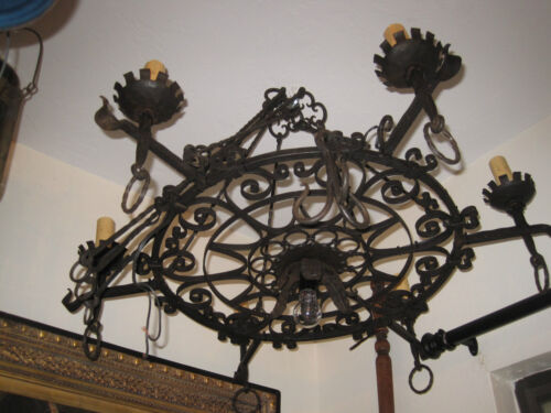 ANTIQUE WROUGHT IRON CHANDELIER, SPANISH MEDITERREANEN STYLE (B), ELECTRIFIED