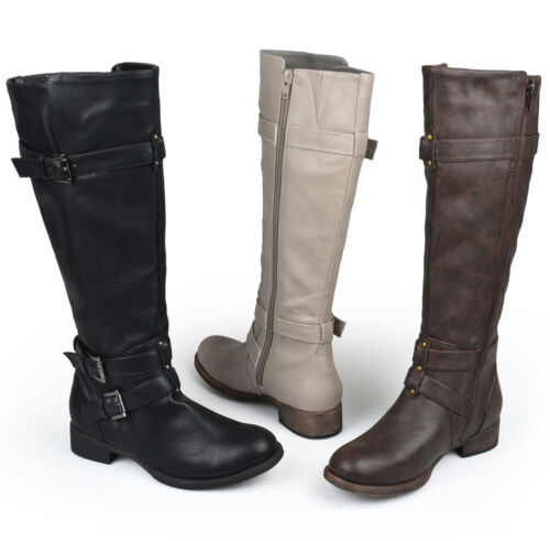 Journee Collection Womens Wide Calf Knee High Buckle Riding Boot New