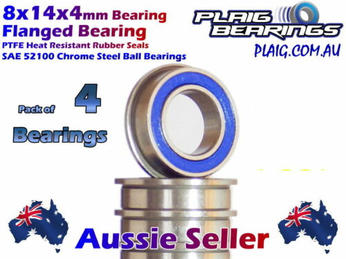 8x14x4mm Flanged (4) RC Bearings PTFE Rubber Seal LOSA6948 MF148-2RS Flange