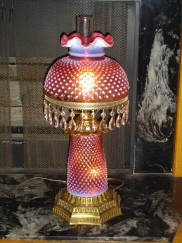 Old Fenton RARE Cranberry Opalescent Hobnail GWTW style lamp