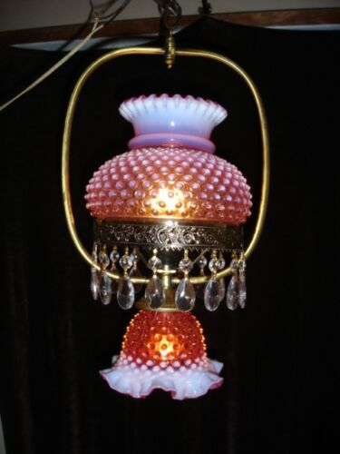 Fenton CRANBERRY HOBNAIL OPALESCENT GWTW style hanging lamp CHANDELIER
