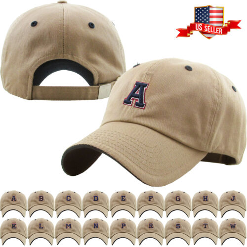 ABC Letter Embroidery INITIAL Khaki Dad Hat Baseball Cap Adjustable