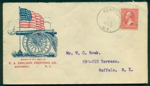 1898, Spanish American War Patriotic cover, Ericson Printing Co. NY cachet, flagReproductions - 156386
