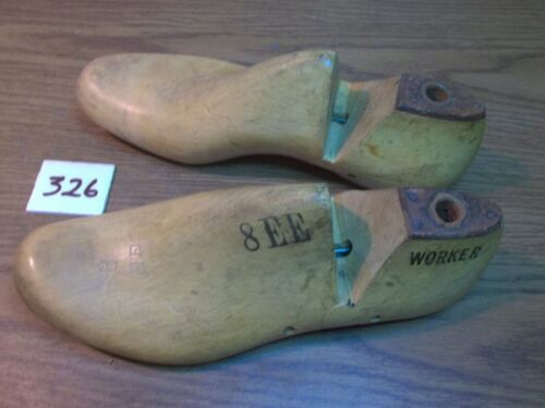 VINTAGE PAIR Wood Size 8 EE WORKER Industrial Shoe Factory Last Mold  #326
