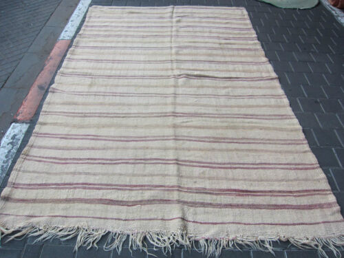 VINTAGE ANTIQUE MOROCCAN CARPET KILIM HAND MADE 245x158-cm /96.4x62.2-inches