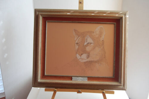 "Lon Smith Silverpoint Drawing ""Cougar"" 13""X16"""" Framed Signed by artist"