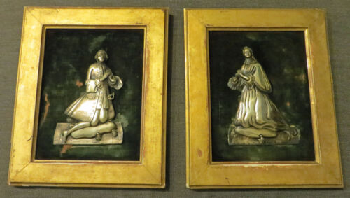 Pair of German 18th Century Framed Repousse Silver Figures- Marked Tittmoning