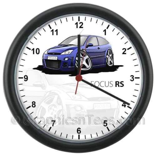 MK1 Ford Focus RS Blue Caricature Car Cartoon Wall Clock - Personalised Gift