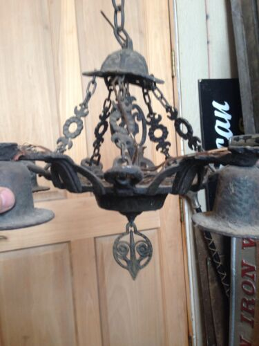 Lt 49 Two Available Antique Hammered Iron Five Arm Chandeliers