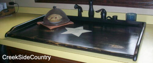 PRIMITIVE Wood  Bread Board Lg KITCHEN SINK COVER With Star