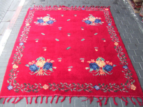 ORIGINAL ANTIQUE MOROCCAN WOOL CARPET RUG HAND MADE 230x195-cm /90.5x76.7-inches