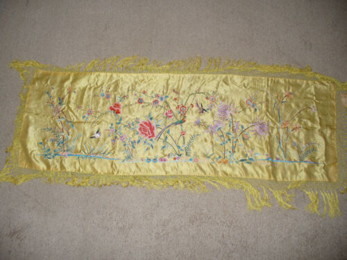"Vintage Chinese emprial yellow silk embroidery cover 60"" x 27"""