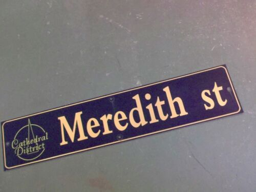 """Vintage MEREDITH ST Cathedral District Street Sign 42"""" X 9"""" -GOLD on NAVY Ground"""
