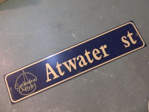 """Vintage ATWATER ST Cathedral District Street Sign 42"""" X 9"""" -GOLD on NAVY Ground"""
