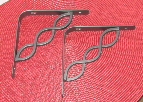 "1 PAIR DECORATIVE 6"" GRAY METAL SHELF BRACKETS NEW"