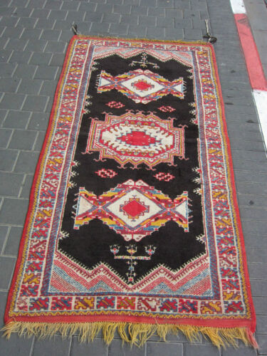VINTAGE ANTIQUE MOROCCAN WOOL CARPET RUG HAND MADE 200x106-cm / 78.7x41.7-inches