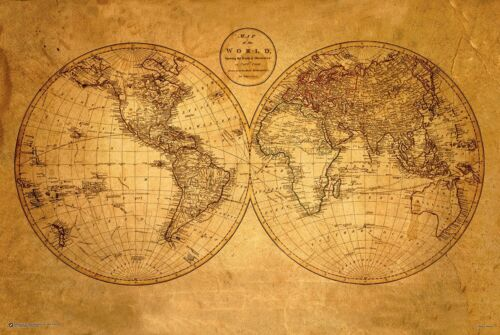OLD WORLD MAP POSTER - 24 x 36 ANTIQUE GEOGRAPHY VINTAGE 10500