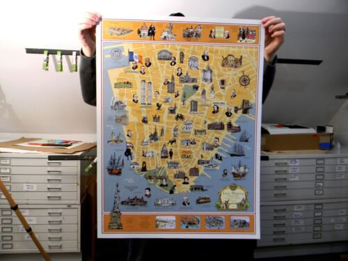 """""""A History of Lower Manhattan"""" by Tony Millionaire - Vintage NYC prints maps"""
