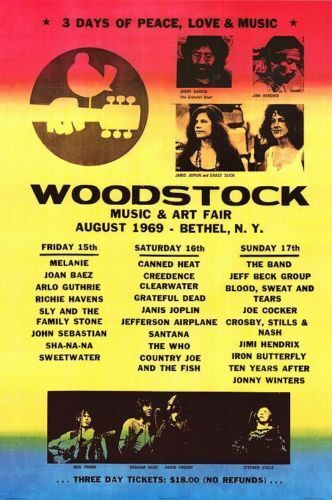 WOODSTOCK LINEUP POSTER - 24x36 SHRINK WRAPPED - MUSIC FESTIVAL 36600