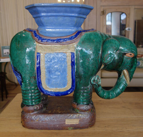 Pair of Antique Glazed Ceramic Elephant Garden Stools