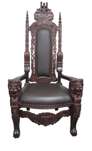 NEW Solid Mahgony Hand Carved Chair w/ Lions Design-Very Unique One of a Kind