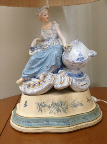 Antique Porcelain Victorian Lady Figural Accent TABLE LAMP w/Original Shade RARE