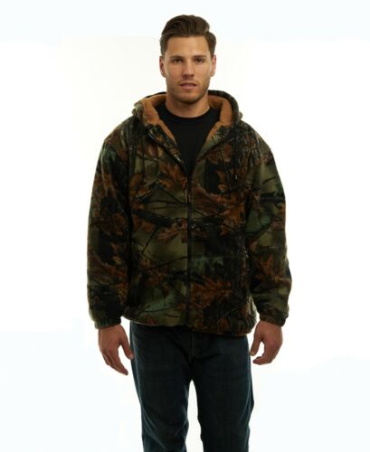 MEN'S SHERPA LINED CAMO FLEECE HUNTING JACKET - FULL ZIP CAMOUFLAGE WARM COAT