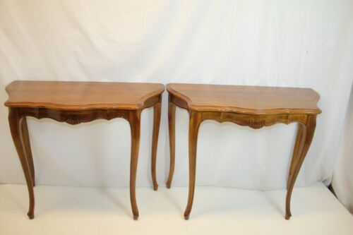 Pair of French Provincial Louis XV Walnut Console Hall Foyer Tables, c.1930's