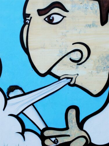 ART PRINT POSTER PAINTING DRAWING GRAFFITI GUY SMOKE JOINT WEED LFMP1057