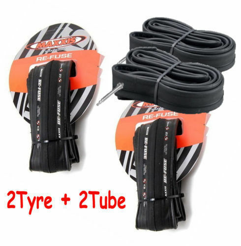 2 X Maxxis Re-Fuse Folding Road Bike Cycling Tyre 700 X 28C Refuse + 2X Tube