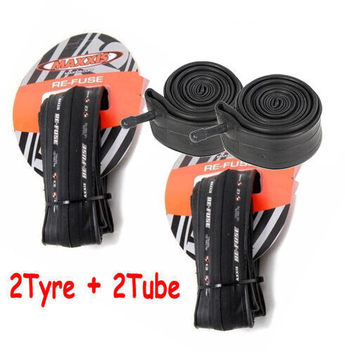 2 X Maxxis Re-Fuse Folding Road Bike Tyre 700 X 25C Refuse + 2X Tube Schrader Va