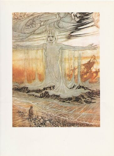 """1975 full Color Plate """" The Shipwrecked Man and the Sea"""" by Arthur Rackham"""
