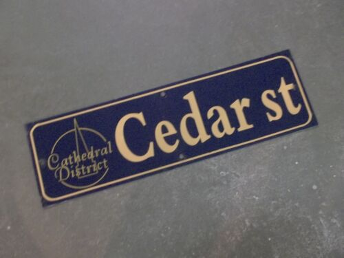 "Vintage CEDAR ST Cathedral District Street Sign 30"" X 9"" - GOLD on NAVY Ground"