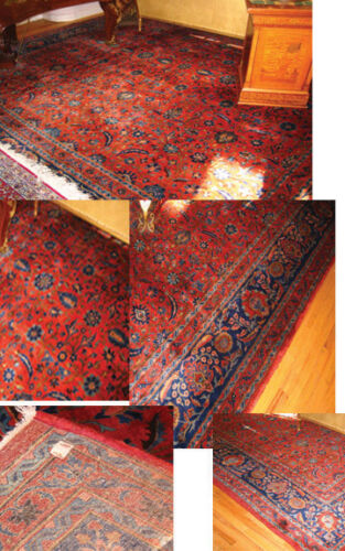 """KASHAN CARPET 19 C LARGE RARE ALL OVER  FLORAL MANCHESTER WOOL 12'.4"""" x 21'.9"""