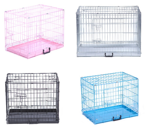 Dog Cage Puppy Crates Small Medium Large Extra Large Pet Carrier Training Cages <br/> 24 Hr - Black, Silver, Pink, Blue - Includes Metal Tray
