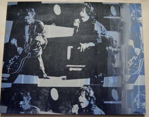ROLLING STONES ORIGINAL MIXED MEDIA BY GAIL RODGERS 1 OF A KIND SIGNED W/COA