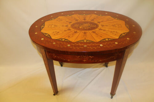 Gorgeous Inlaid Edwardian Mahogany and Satinwood Side Center Table, 19th C.