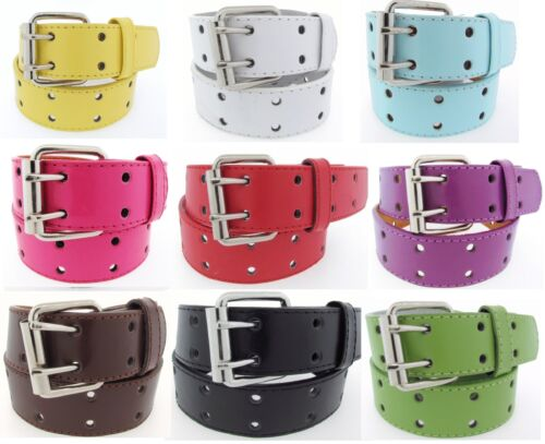 2 Row 2 Hole Punch Leather Belt 2 Prong Genuine Leather Mens Womens S/M/L/XL-4XL