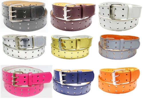 NEW Designer Womens Mens 2 Row 2 Hole Punch Leather Belt S M L XL 2 Prong Buckle