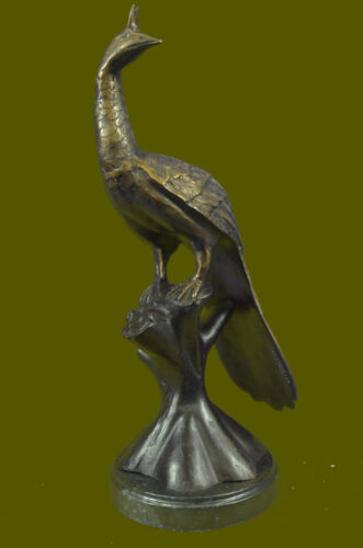 """Large Detailed Peacock Sculpture 14"""" Tall bronze with color accents home Decor"""