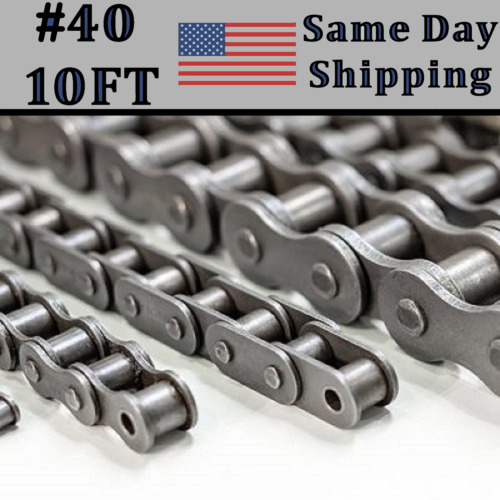 #40 Roller Chain 10 FT Box with Connecting Link - Same Day Priority Shipping