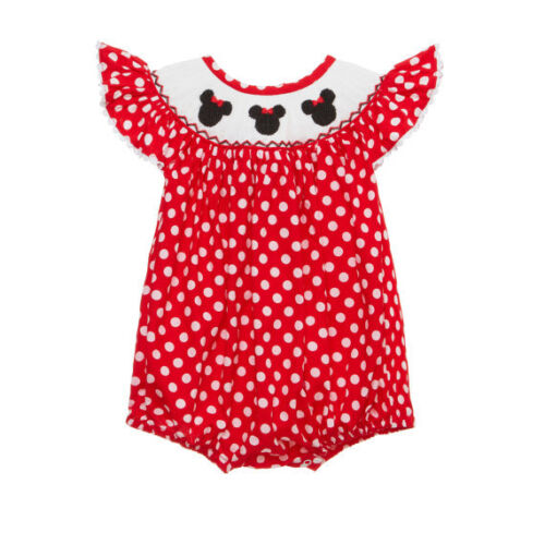 New smocked mouse ear bubble romper 3m - 3t * girl red minnie Disney trip