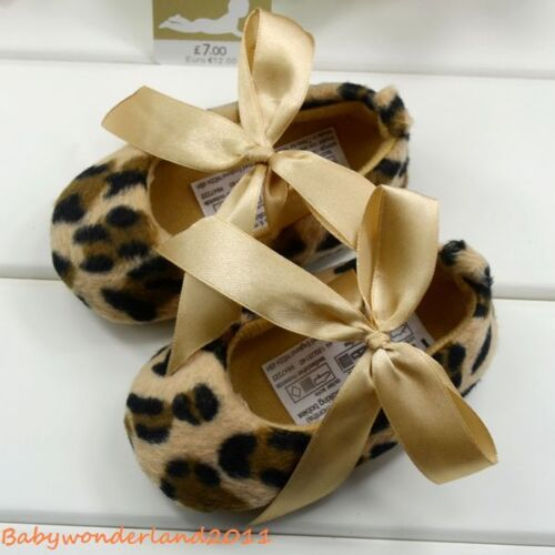 New Mothercare Girls Leopard Silk Bow Baby Shoes 3-6m,6-9m,9-12m