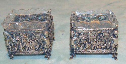 PAIR  SILVER 800 SALT  CUPIDS  WITH CRYSTAL INSERTS ENGLISH BIRMINGHAM C 1914