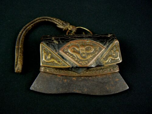 Rare Japanese Antique Flint and Steel Leather Samurai Case Hiuchi-bukuro Japan