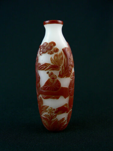 Vintage Chinese Peking Red Overlay Snuff Bottle