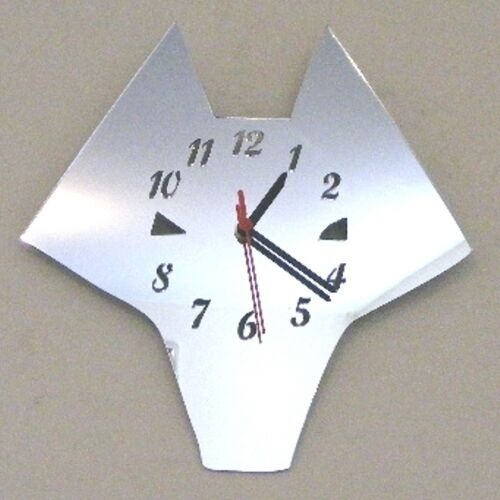 Wolf Face Clock - Acrylic Mirror (Several Sizes Available)