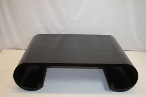 Mid 1950  Century Black Ebony Large Coffee table with Rolled in Base Nice!