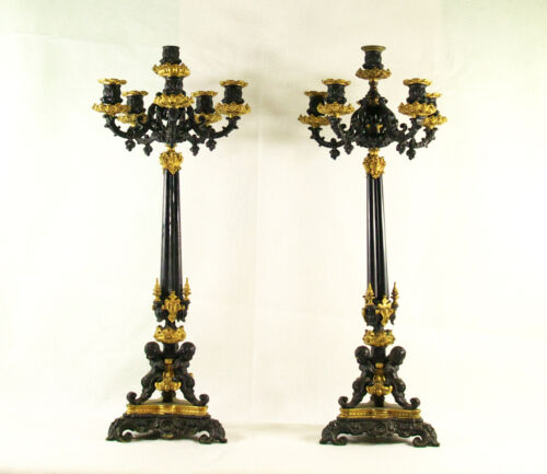 Antique Pair of 6 Light Empire Painted and Gilt Bronze Putti Candelabra