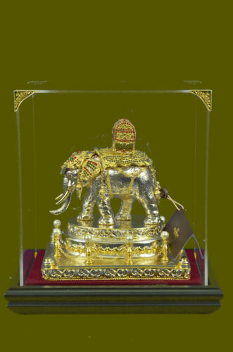 Large 24K Gold and Silver Plated Bronze Sculpture Elephant Display Figurine Deal